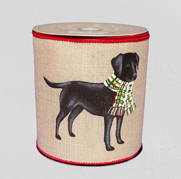 d.stevens Black Lab On Natural Canvas Wired Ribbon, PerpetualRibbons