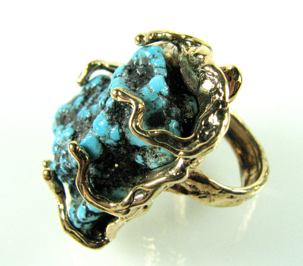 Solid Bronze Free Form Ring set w/ Large Turquoise Nugget.