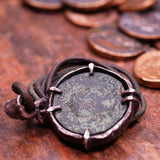 Ancient Roman Bronze Coin set in Antiqued Sterling Silver Pendant.