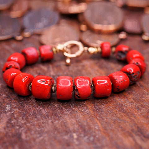 Beautiful Red Coral Bracelet W/ 14K Gold Clasp and spacer beads.