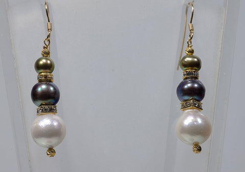 Multi. Colored Pearl Drop Earrings