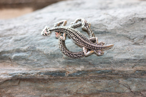 Silver Snake & Lizard Toggle Clasp.