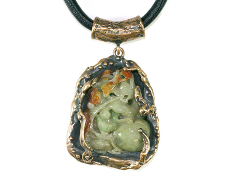 Bronze & jade Carving Pendant.