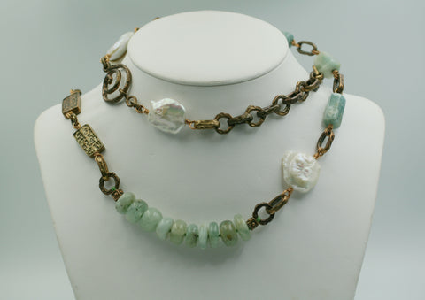 Old World Bronze/ Aquamarine Necklace.