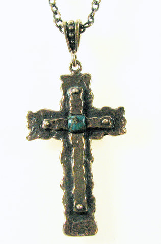 Handcrafted Solid Bronze Cross set w/ Turquoise stone.