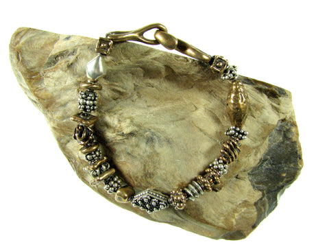 Sterling Silver & Old World Bronze Bead Bracelet.