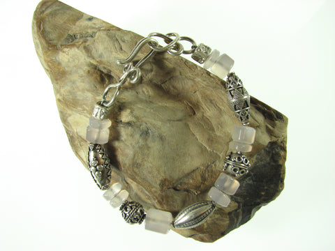 Sterling Silver & Fancy Cut Rose Quartz Bracelet