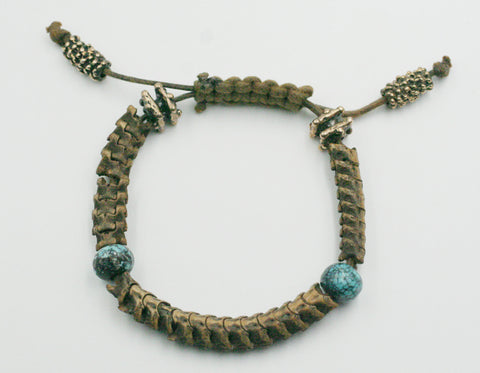 Pit Viper Backbone Bracelet w/ Old World Bronze and Turquoise Rondells.