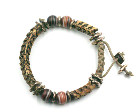 Pit Viper Backbone Bracelet w/ Old World Bronze and Round Banded Agate Beads.
