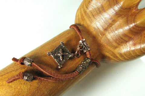Leather and Bronze Choker Bracelet.