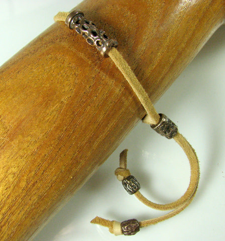 Leather & Bronze Choker Bracelet.