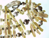 Long Necklace of Fresh Water Stick & Round Pearls.
