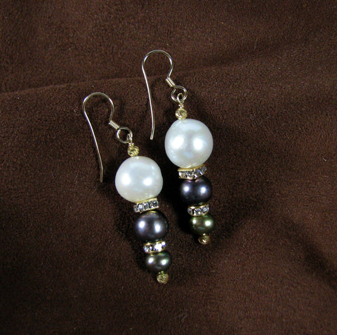 Three Pearl Drop Earrings.