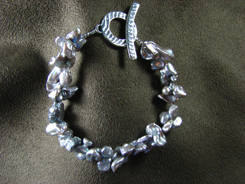 Silver lavender Keshi pearl Bracelet with Sterling Toggle.