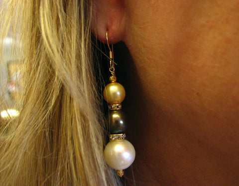 Exquisite Large Multi Colored 3 Pearl Drop Earrings by Michael Andrew