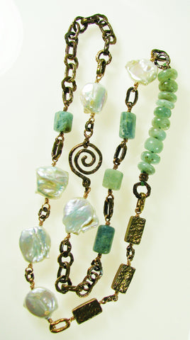 A New necklace we made using our Old World Bronze beads and components with Aquamarine and Baroque Pearls.