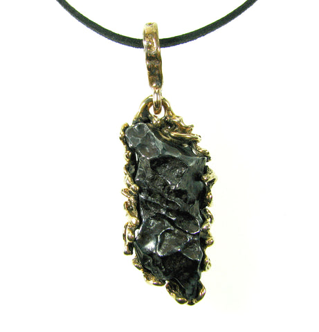 Iron Meteorite set in Bronze Pendant by Michael Andrew.