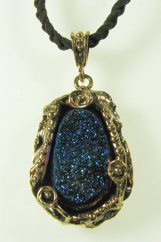 Blue Druzy Quartz set in Bronze Pendant