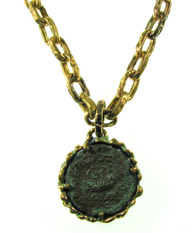 Large Ancient Roman Coin Pendant set in Bronze Pendant and heavy matching Bronze Chain.