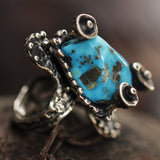 Sterling Silver Textured Turquoise Ring.