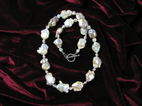 large fresh water pearl strand w/ sterling toggle clasp.