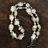 Baroque Pearl Necklace w/ Silver Toggle Clasp.