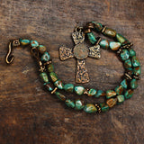 Turquoise and Old World Bronze Necklace w/ Ancient Roman coin.