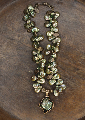 Petal Pearl and Bronze Necklace.