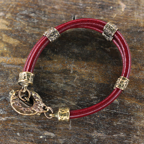 Solid Bronze & Double Leather Bracelet.