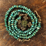 Ancient Byzantine Bronze Coin Set in Bronze Cross with Turquoise Necklace