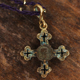 Authentic Ancient Roman Coin set in solid Bronze Cross Pendant.