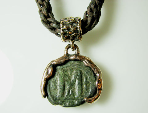 Ancient Byzantine Coin in Bronze setting by Michael Andrew.