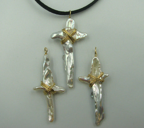 Set of Three Fresh Water Pearl Crosses.