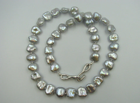 Bluish/ Platinum Color Baroque Fresh Water Pearl Necklace.