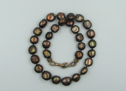 Rich Chocolate Color Fresh Water Baroque Pearl Necklace.