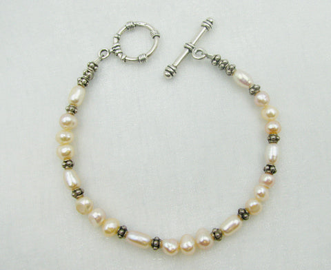 Sterling Silver and White Pearl Bracelet