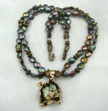 Old World Bronze and Peacock Pearl Pendant / Necklace.