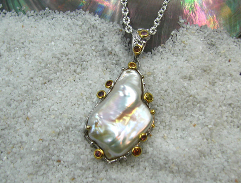 Sterling Silver & F.W. Baroque Pearl Pendant with Colored Sapphires.