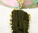 Fossilized Wood set in Sterling Silver Pendant w/ Colored Sapphires.
