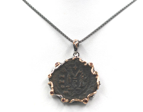 Ancient Bronze Byzantine Coin set in Sterling Silver w/ Colored Sapphires.