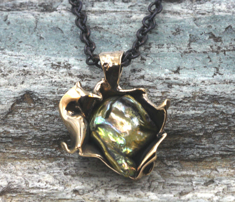 Bronze & fresh water green pearl pendant.