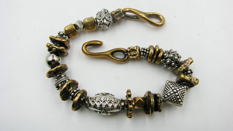 Sterling Silver and Old World Bronze Link Bracelet.
