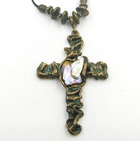 Free Form Cross using my Old World Bronze & F.W. Pearl