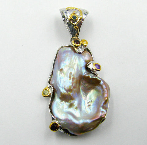 Sterling Silver Pendant w/ fresh water Pearl and Colored Sapphires.