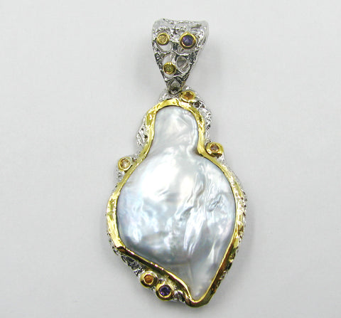 Sterling Silver Pendant W/ Fresh Water Pearl & Colored Sapphires.