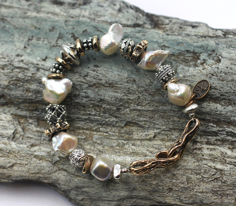 Sterling Silver, Bronze and Pearl Bracelet