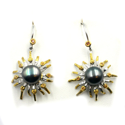 Fresh Water Pearl Earrings w/ Golden Sapphires set in Sterling Silver.