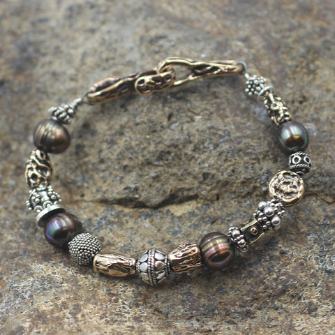 Fresh Water Pearl Bracelet with Sterling Silver and Old World Bronze Accent Beads