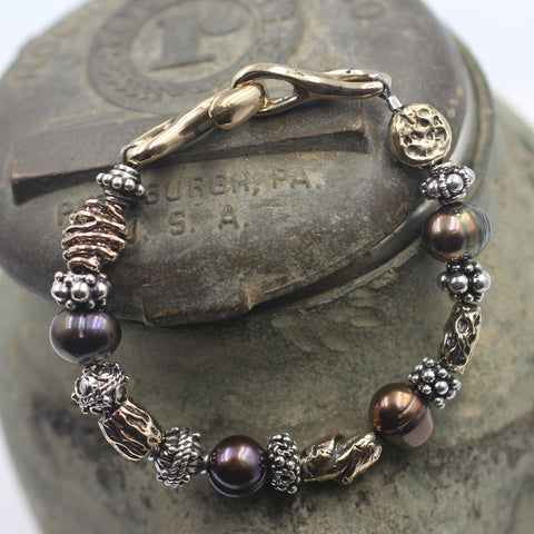 Fresh Water Pearl Bracelet with Sterling Silver & Bronze accent beads