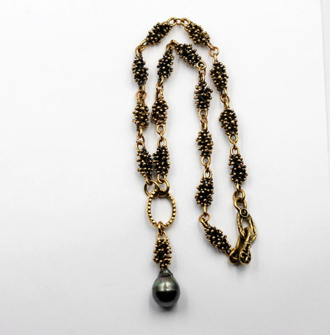 Old World Bronze & Tahitian Pearl Necklace